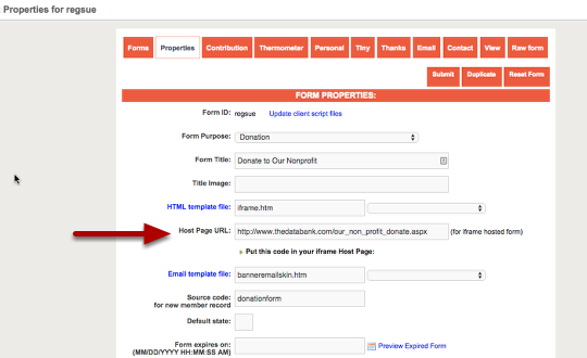 Setting up an iframe using Form Builder – thedatabank